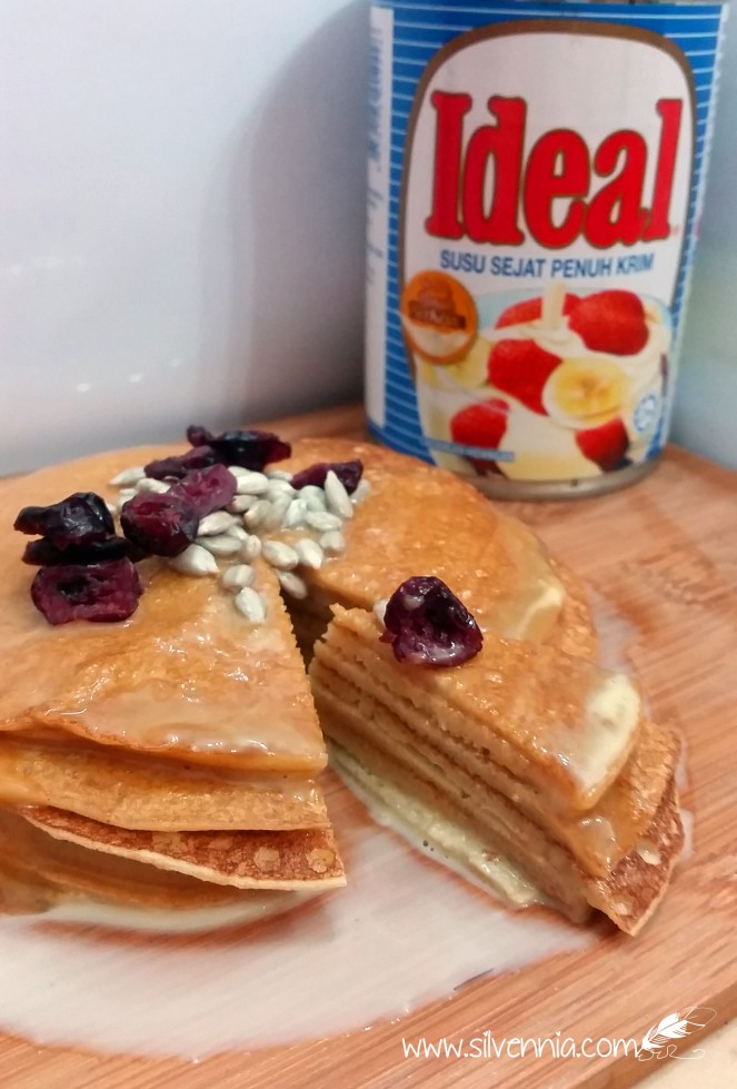 Butterscotch Pancakes with Dried Cranberries and Sunflower Seeds.  Made with IDEAL® Full Cream Evaporated Milk