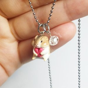 Mini Hamster Necklace with Crystal Glass Bead Cute Small Hamster: RM113.72